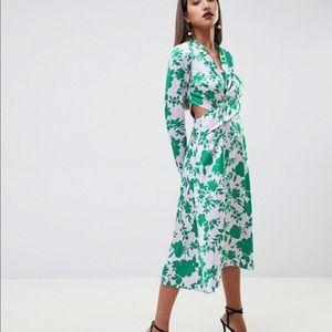 ASOS Design Collar Midi Tea Dress w/ long sleeves